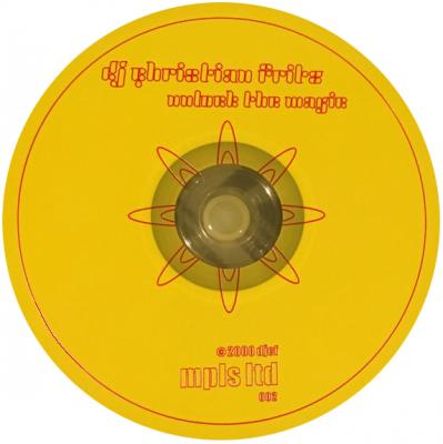 A yellow cd with red writing